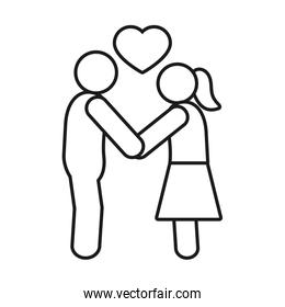 pictogram couple in love, line style