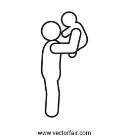 pictogram man holding up a baby, line style