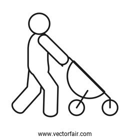 pictogram man with stroller icon, line style