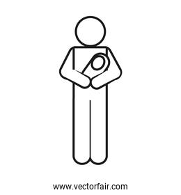 pictogram man with baby in arms, line style