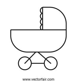 baby stroller icon, line style