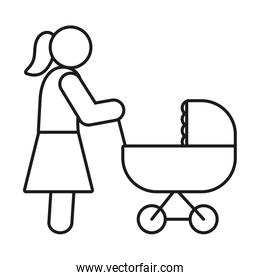 pictogram woman with strolley, line style