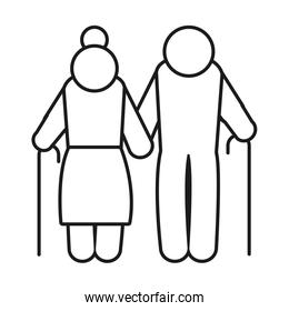 pictogram elderly couple icon, line style