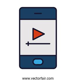 smartphone with video player on screen, line and fill style
