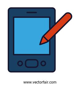 smartphone with pen icon, line and fill style