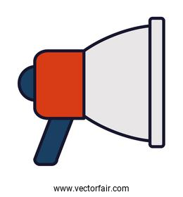 megaphone device icon, line and fill style