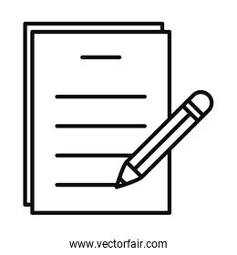 document page and pencil icon, line style