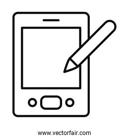 smartphone with pen icon, line style
