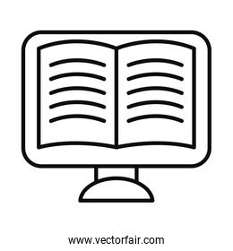computer with academic book on screen, line style