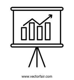 presentation board with graphic bar chart icon, linear and fill style