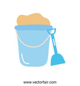 summer concept, bucket with sand and shovel, flat style