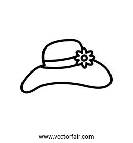 summer women hat with decorative flower icon, line style