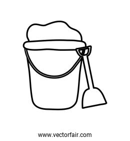 summer concept, bucket with sand and shovel, line style