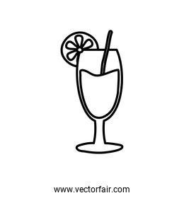 summer cocktail icon, line style