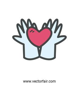 Hands with heart line and fill style icon vector design