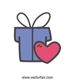 gift with heart line and fill style icon vector design