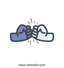 fist sign with hands line and fill style icon vector design