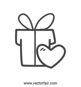 gift with heart line style icon vector design