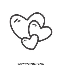 Hearts line style icon vector design
