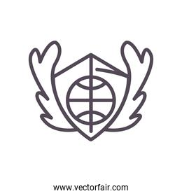 Ball on shield of basketball line style icon vector design