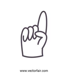 Number one glove line style icon vector design
