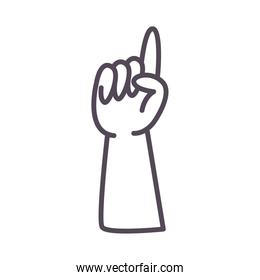 Number one sign with hand line style icon vector design