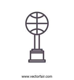 Ball trophy of basketball line style icon vector design