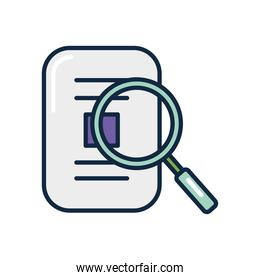 magnifying glass with document paper, line color style