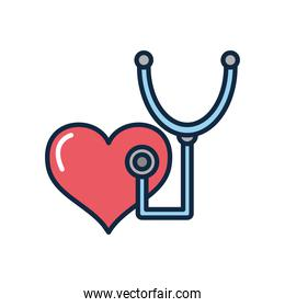 heart and stethoscope icon, line color style