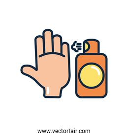 hand with cleaning spray can icon, line color style
