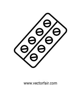 medication pills blister icon, line style