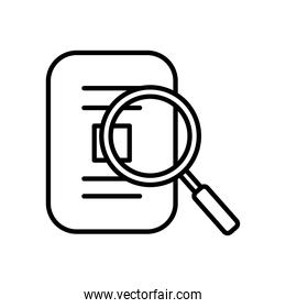 magnifying glass with document paper, line style
