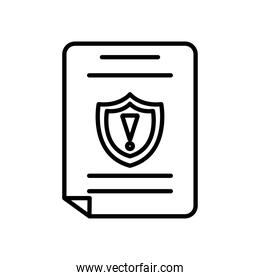 document with alert shield icon, line style