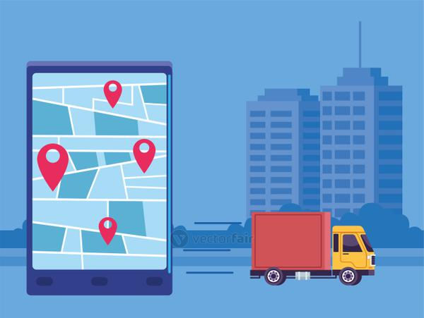 delivery service online with smartphone