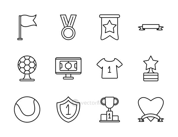 medal and game event icon set, line style