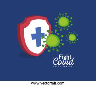 Shield with cross fight covid 19 virus vector design