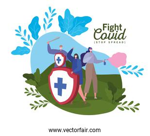 People with masks shield sword and spray fight covid 19 virus vector design
