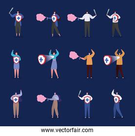 People with masks shield sword and spray fight covid vector design