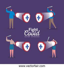 People with masks shields with cross and swords fight covid vector illustration