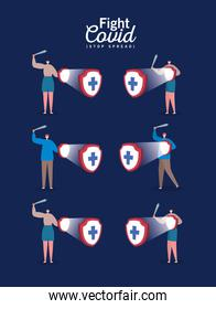 People with masks shields with cross and swords fight covid vector design