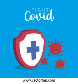 Shield with cross and covid 19 virus kawaii cartoons vector design