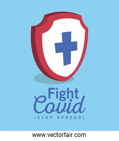 Shield with cross and fight covid 19 virus vector design