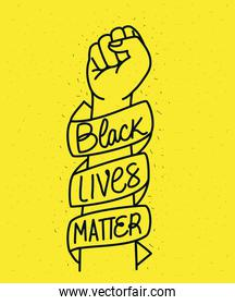 Black lives matter on ribbon around fist vector design