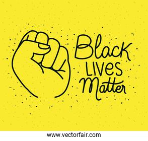 Black lives matter with fist vector design