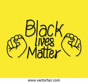 Black lives matter with fists vector design