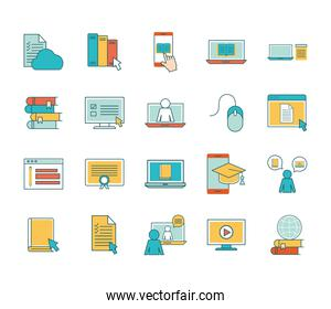 Education online line and fill style icon set vector design