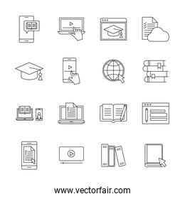 Education online silhouette style icon set vector design