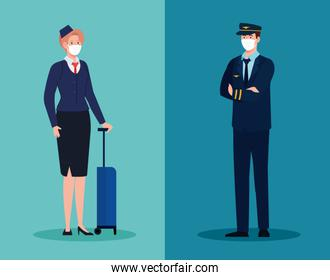 woman stewardess and man pilot with masks vector design