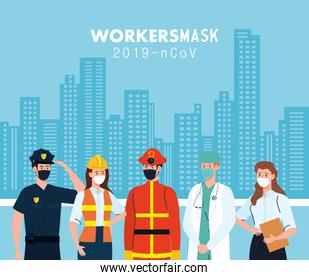 people workers with workermasks in front of city buildings vector design