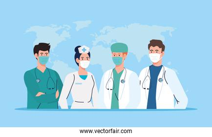 female and male nurse and doctors with uniforms and masks vector design
